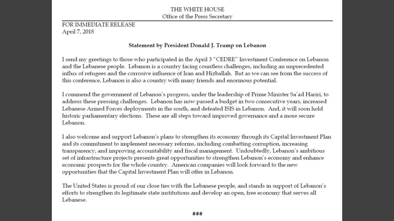 Lebanon news breaking news trump says us proud of close ties with expressed support for the plans to strengthen lebanons economy through its capital investment plan and its commitment to implement necessary reforms m4hsunfo Choice Image