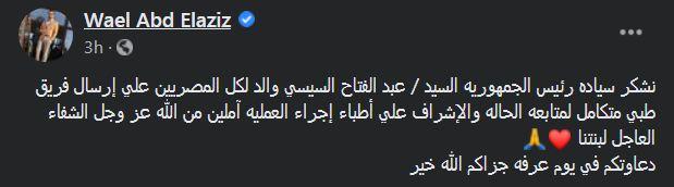 السيسي أرسل فريقاً طبياً للإشراف على حالة ياسمين عبد العزيز