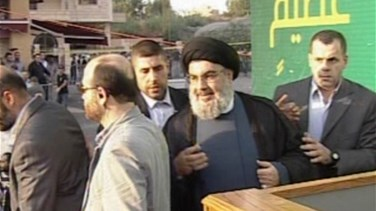 Nasrallah appears in person at the anti-Islam film protest in Beirut