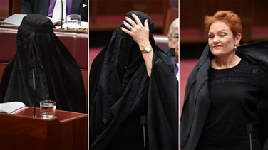 Lebanon News - Australia's Hanson wears burqa to parliament in bid to ban them