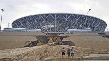 Lebanon News - Heavy rain damages Russian World Cup stadium on final day
