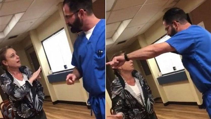 بالفيديو – طبيب يطرد مريضة من عيادته بطريقة عنيفة!