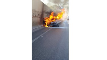 Vehicle bursts into flames near airport tunnel