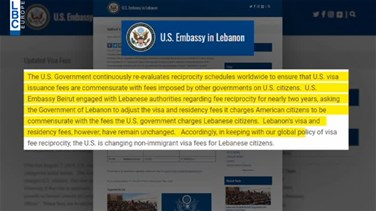 US increases visa prices for Lebanese