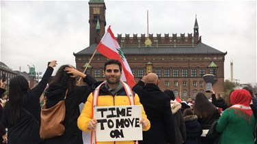 Lebanese nationals in Copenhagen stand in solidarity with Lebanon's revolution (Video)
