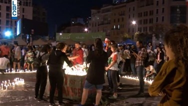 Candles lit up in Riyad al-Soleh square for martyr Alaa Abou Fakher-[VIDEO]