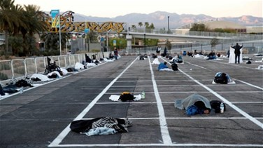 Las Vegas parking lot becomes social distance-designated homeless shelter